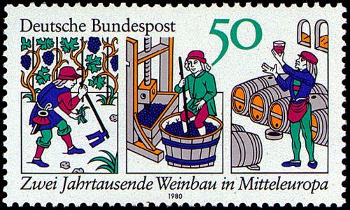 Weinbau Mittelalter Abbildung Deutsche Bundespost