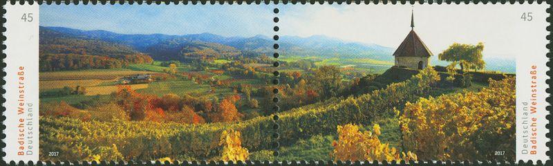 Panorama Briefmarke Baden Weinstraße