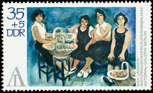 Wein und Briefmarken DDR Lingner Gemälde Weintrauben