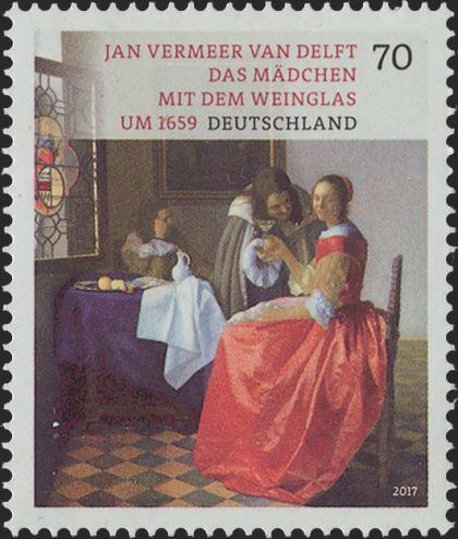 Briefmarke Vermeer Mädchen Weinglas