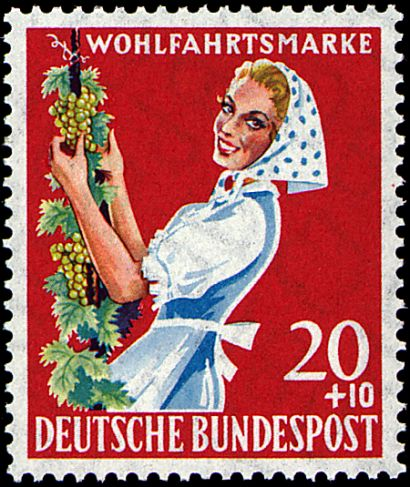 Wein und Briefmarken Winzerin